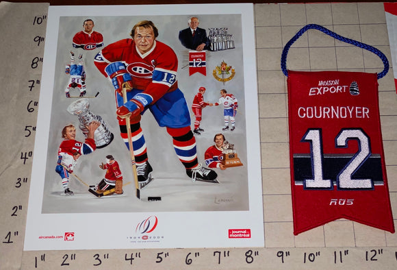 YVAN COURNOYER MONTREAL CANADIENS #12 RETIREMENT BANNER NHL  HOCKEY LITHOGRAM