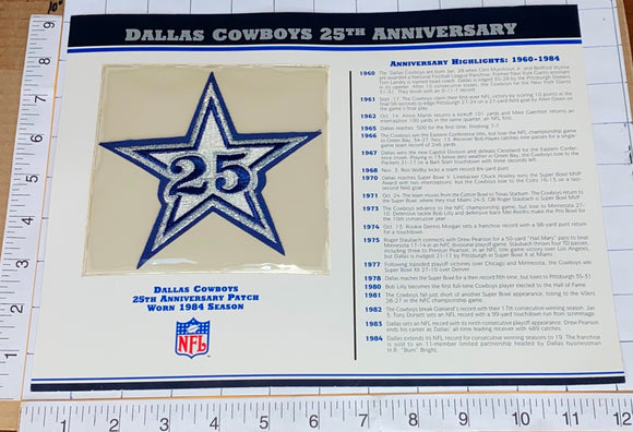 DALLAS COWBOYS 25TH ANNIVERSARY NFL FOOTBALL WILLABEE & WARD STAT & PATCH