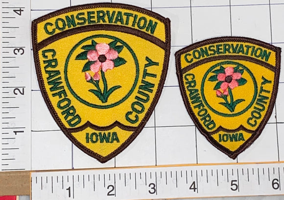 2 IOWA CRAWFORD COUNTY CONSERVATION CREST EMBLEM PATCH LOT