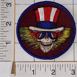 "UNCLE SAM GRATEFUL DEAD SKELETON 3"" MUSIC CONCERT PATCH CREST JERRY GARCIA"