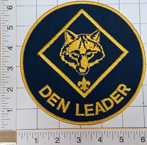 "1 VINTAGE 6"" BSA WOLF DEN LEADER DIAMOND SCOUT RANK EMBLEM CREST PATCH"