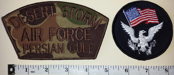 2 US OPERATION DESERT STORM AIR FORCE GULF KUWAIT IRAQI WAR CREST PATCH LOT