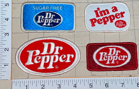 4 RARE VINTAGE DR PEPPER COLA SOFT DRINKS SUGAR FREE I'M A PEPPER PATCH LOT
