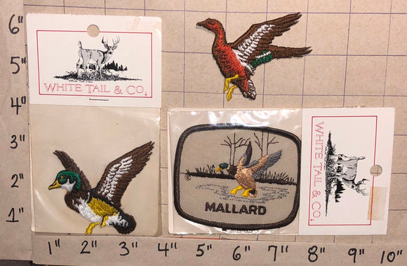 3 DUCK HUNTING HUNTER MALLARD CREST EMBLEM PATCH LOT MIP
