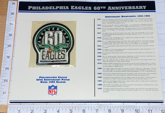 PHILADELPHIA EAGLES 60TH ANNIVERSARY NFL FOOTBALL WILLABEE & WARD STAT & PATCH