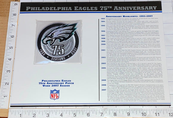 PHILADELPHIA EAGLES 75TH ANNIVERSARY NFL FOOTBALL WILLABEE & WARD STAT & PATCH