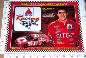 TEAM CITGO RACING ELLIOTT SADLER WILLABEE & WARD FACT SHEET EMBLEM PATCH