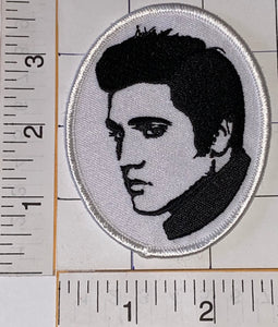 RARE ELVIS PRESLEY PICTURE PORTRAIT ROCK & ROLL MUSIC SINGER WHITE EMBLEM PATCH