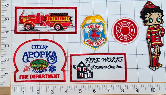 6 RARE TULSA APOPKA KANSAS CITY FIRE FIGHTING DEPARTMENT RESCUE SQUAD PATCH LOT