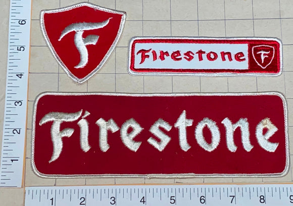 3 VINTAGE FIRESTONE TIRE RUBBER COMPANY #1 IN TIRES CREST PATCH LOT