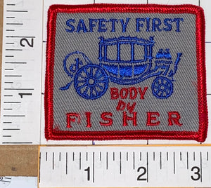 1 RARE VINTAGE BODY BY FISHER COACHBUILDER FISHER BODY SAFETY FIRST EMBLEM PATCH
