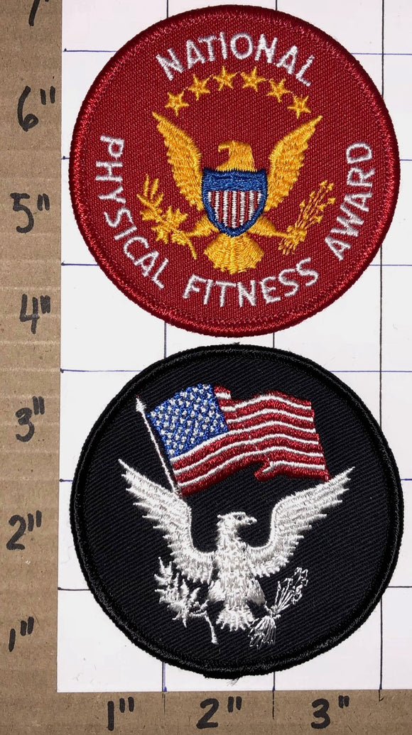2 PRESIDENTIAL PHYSICAL NATIONAL FITNESS AWARD EAGLE USA UNITED STATES PATCH LOT