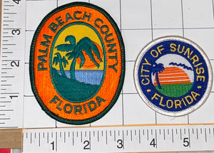 2 FLORIDA SUNRISE PALM BEACH COUNTY USA UNITED STATES PATRIOTIC TOURIST PATCH