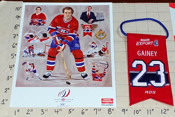 BOB GAINEY MONTREAL CANADIENS #23 RETIREMENT BANNER NHL LITHOGRAM PATCH