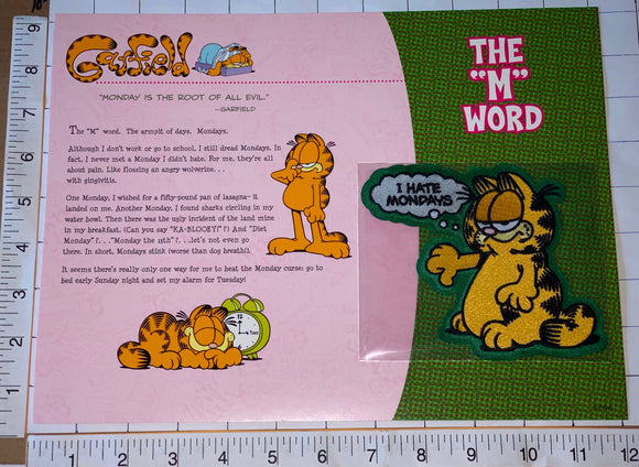 GARFIELD I DON'T LIKE MONDAYS THE M WORD WILLABEE & WARD EMBLEM PATCH