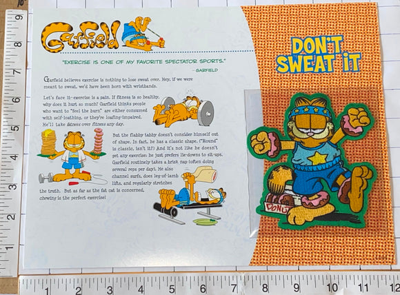 GARFIELD THE CAT DON'T SWEAT IT EXCERCISE WILLABEE & WARD EMBLEM PATCH
