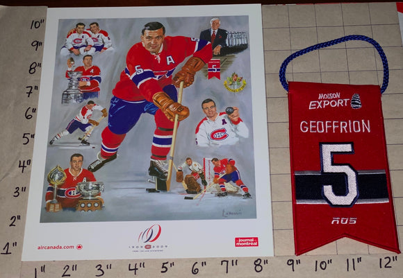 BERNIE GEOFFRION BOOM #5 RETIREMENT NIGHT BANNER MONTREAL CANADIENS LITHOGRAM