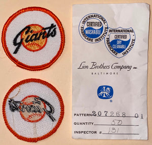 "1 VINTAGE SAN FRANCISCO GIANTS MLB BASEBALL 2"" EMBROIDERED CREST PATCH"