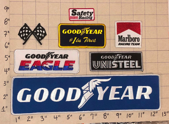 7 GOODYEAR TIRE RUBBER COMPANY #1 IN TIRES NASCAR SPONSOR BLUE CREST PATCH LOT