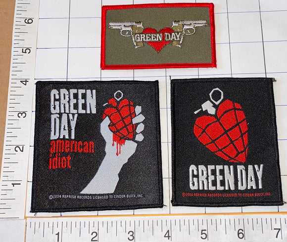 3 GREEN DAY AMERICAN ROCK BAND AMERICAN IDIOT GRENADE GUNS MUSIC PATCH LOT