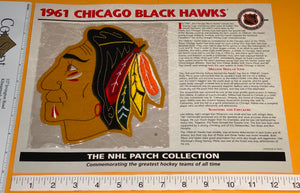 1 OFFICIAL 1961 CHICAGO BLACKHAWKS BLACK HAWKS NHL WILLABEE & WARD PATCH MIP