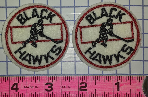 2 VINTAGE CHICAGO BLACKHAWKS 2 inch NHL HOCKEY CREST PATCH LOT