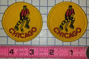 2 VINTAGE CHICAGO BLACKHAWKS 2 inch GOLD NHL HOCKEY CREST PATCH LOT