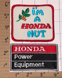 2 RARE 80'S TEAM HONDA POWER EQUIPMENT I'M A HONDA NUT CREST PATCH LOT