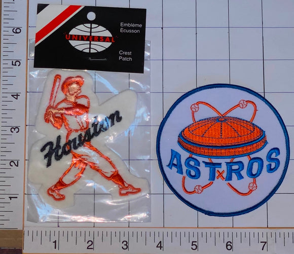 2 RARE VINTAGE HOUSTON ASTROS MLB BASEBALL PLAYER CREST PATCH MINT IN PACKAGE