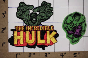 2 RARE THE INCREDIBLE HULK SUPER HEROS MARVEL GREEN EMBLEM CREST PATCH LOT