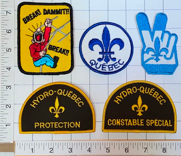 5 HYDRO-QUEBEC SPECIAL CONSTABLE PROTECTION ELECTRICITY QUEBEC CREST PATCH LOT