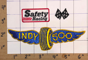 3 INDY INDIANAPOLIS 500 RACING CHECKERED FLAGS USA CREST EMBLEM PATCH LOT
