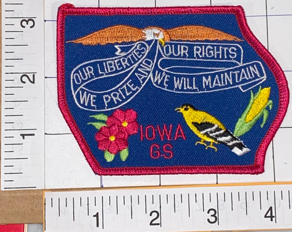 IOWA GS OUR LIBERTIES WE PRIZE AND OUR LIBERTIES WE WILL MAINTAIN CREST PATCH