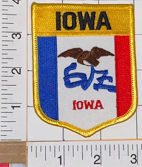 IOWA STATE FLAG PATCH + 1 STATE UNIVERSITY OF IOWA ORGANISED FEB.25, 1847 PIN