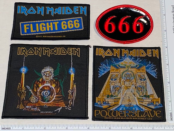 4 IRON MAIDEN HEAVY METAL FLIGHT 666 POWERSLAVE CONCERT MUSIC PATCH LOT