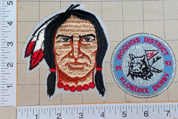 2 VINTAGE 70's INDIAN MOHAWK IROQUOIS DISTRICT KLONIKE DERBY CREST PATCH LOT
