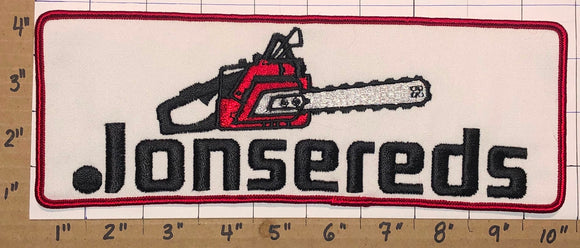 1 HUGE VINTAGE JONSEREDS CHAINSAW CHAIN SAW POWER TOOLS CREST EMBLEM PATCH