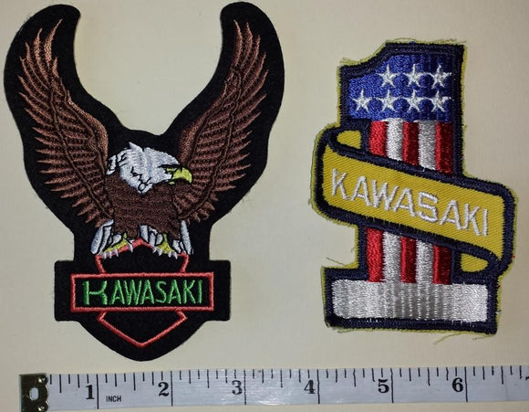 2 VINTAGE KAWASAKI #1 MOTORCROSS MOTORCYCLE OFF ROAD CREST EMBLEM PATCH LOT