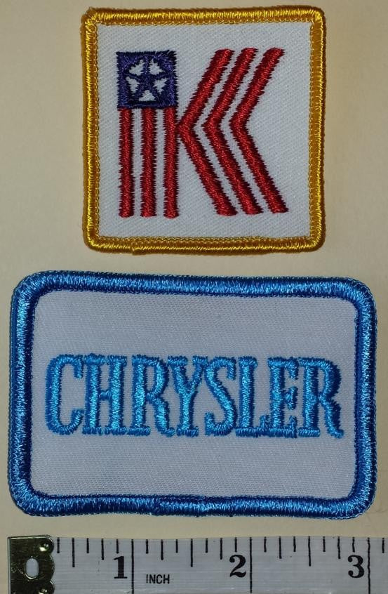 2 VINTAGE CHRYSLER K CAR AUTOMOBILE CREST EMBLEM PATCH LOT
