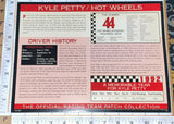 1 HOT WHEELS MATTEL RACING KYLE PETTY WILLABEE & WARD FACT SHEET EMBLEM PATCH