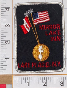 MIRROR LAKE INN LAKE PLACID N.Y. PATRIOTIC VOYAGER TRAVEL TOURIST CREST PATCH