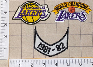 3 LOS ANGELES LAKERS 1981-82 NBA BASKETBALL CHAMPIONS CREST PATCH LOT