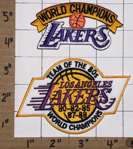 LOS ANGELES LAKERS WORLD CHAMPIONS TEAM OF THE 80'S NBA BASKETBALL PATCH LOT