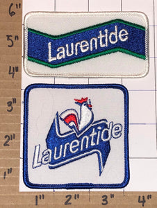 2 VINTAGE LAURENTIDE BEER BREWERY FRENCH CANADIAN BUD CREST EMBLEM PATCH LOT