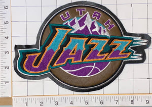 "1 VINTAGE UTAH JAZZ NBA BASKETBALL 9"" CREST EMBLEM LEATHER PATCH"