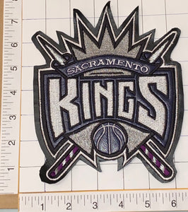 "1 VINTAGE SACRAMENTO KINGS NBA BASKETBALL 7.5"" CREST EMBLEM LEATHER PATCH"