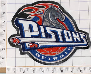 "1 VINTAGE DETROIT PISTONS NBA BASKETBALL 9"" CREST EMBLEM LEATHER PATCH"