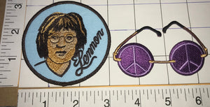 JOHN LENNON PEACE & LOVE GLASSES IMAGINE THE BEATLES CREST EMBLEM PATCH