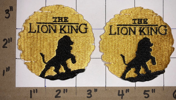 2 VINTAGE WALT DISNEY PRODUCTIONS THE LION KING EMBLEM CREST PATCH LOT
