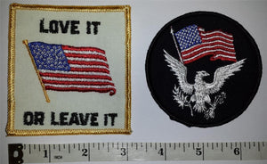 2 USA AMERICA LOVE IT OR LEAVE IT DON'T THREAD ON ME USA OF A LIBERTY PATCH LOT